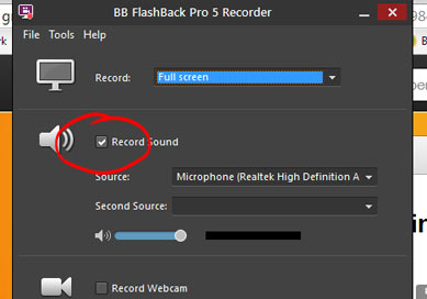 Tick the microphone option to record your voice